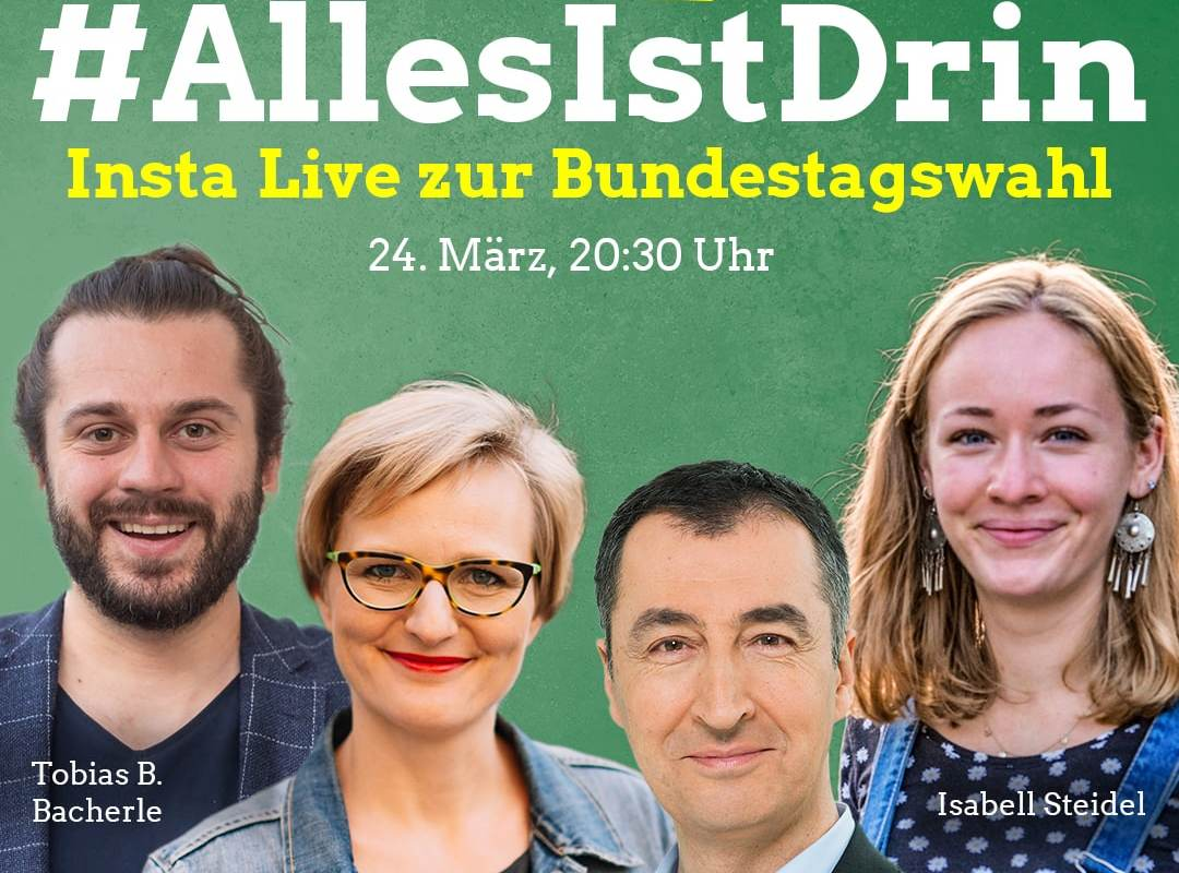 #AllesIstDrin – Insta Live mit Cem Özdemir, Franziska Brantner & Isi Steidel