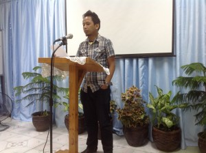 Jonathan Sta Rita giving his testimony of  conversion