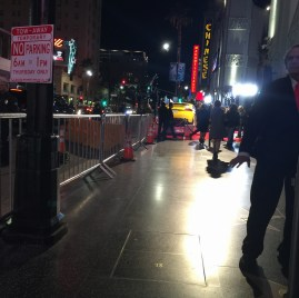 "Behind the VIP line on Hollywood Blvd's ""Walk of Fame,"" heading to the Chinese Theater for the premiere of ""Concussion."""
