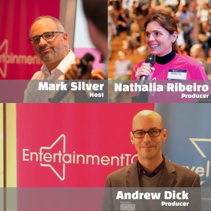 The The Backstage Project Podcast team consists of technology and entertainment veterans Mark Silver, Nathalia Ribeiro and Andrew Dick