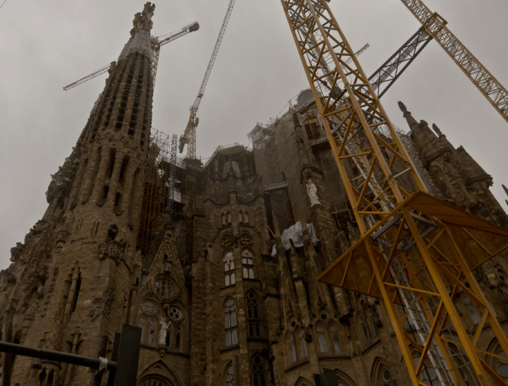 A facade of Sagrada Familia in Barcelona
