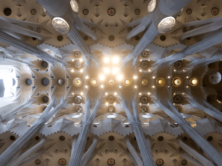 Sagrada Familia, dead center looking up