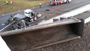 Truck Falls | Florida Highway Patrol | Truck Overturns