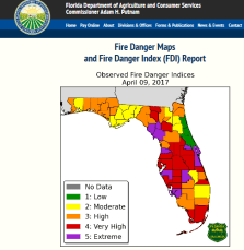 Fire Danger Map | Florida Department of Agriculture | Wildfire