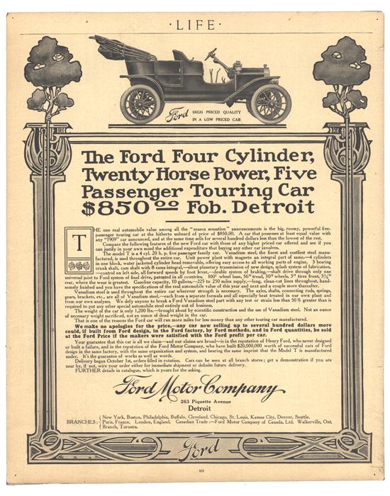 Model T Ford 1908 Life magazine ad