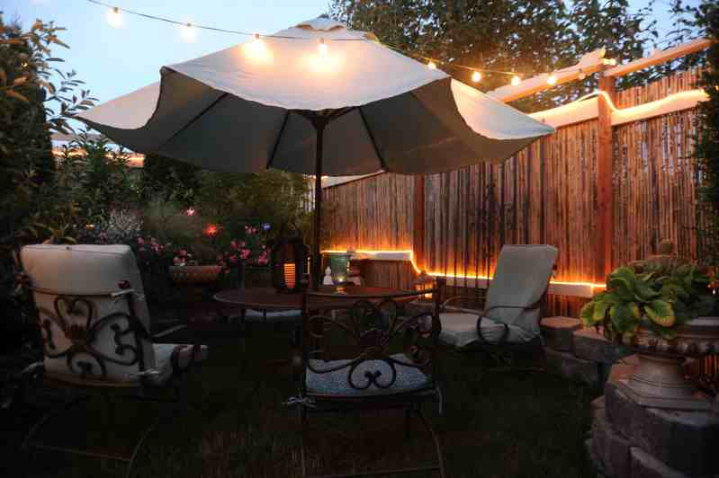 An patio with upgrades that your Vancouver electricians could install