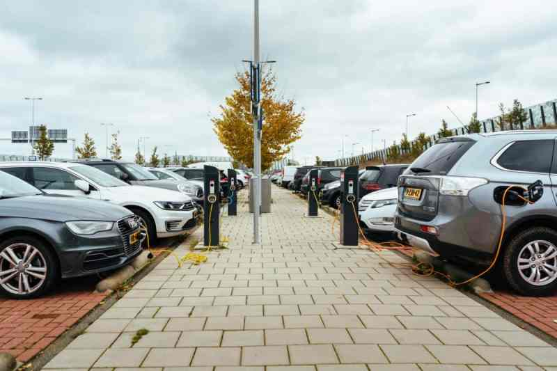 Cars at public EV charging stations like those in Vancouver