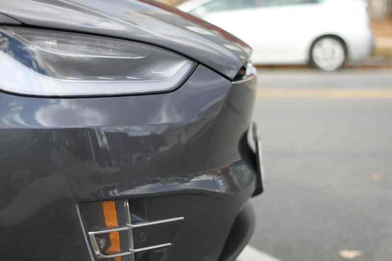 close up of a grey Tesla