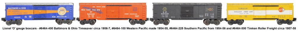 medium resolution of lionel 6464 series box cars from the post war era