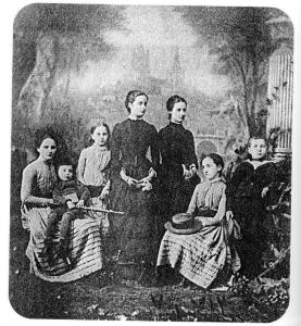 The Stokes family c.1885, Lillian is third from right
