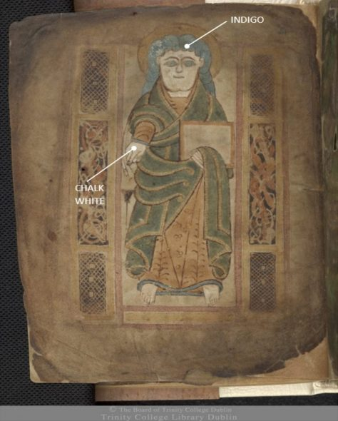 Figure 2 Pigment identification in The Book of Mulling, 2nd half of 8th century, TCD MS 60, f. 12v, © The Board of Trinity College Dublin, the University of Dublin. 2015.