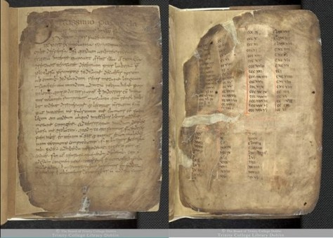 Figures 1 and 2 – The Book of Mulling with repaired damaged areas, TCD MS 60, ff. 1r, 6r © The Board of Trinity College Dublin, the University of Dublin. 2015.
