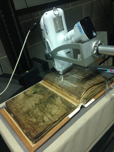 Figure 1 XRF set up for The Garland of Howth, 8th-9th century, TCD MS 56 © The Board of Trinity College Dublin, the University of Dublin. 2015.