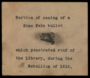 The casing of a bullet which pierced the roof of the Library of Trinity College Dublin during Easter week 1916