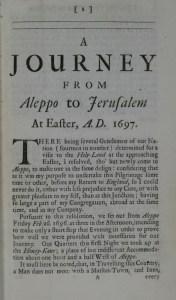 Henry Maundrel 'Journal of a Journey from Aleppo to Jerusalem 1697' Fag.B4.33