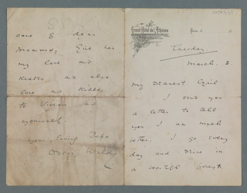 Letter from Oscar Wilde to his son Cyril, 1891 (TCD MS 11437/1/1/1)