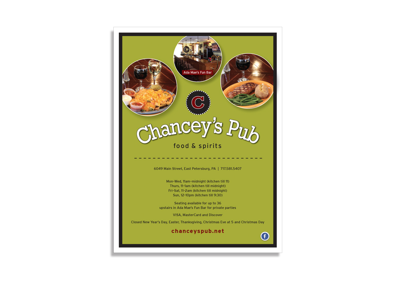 advertising design, program ad, chance's pub ad