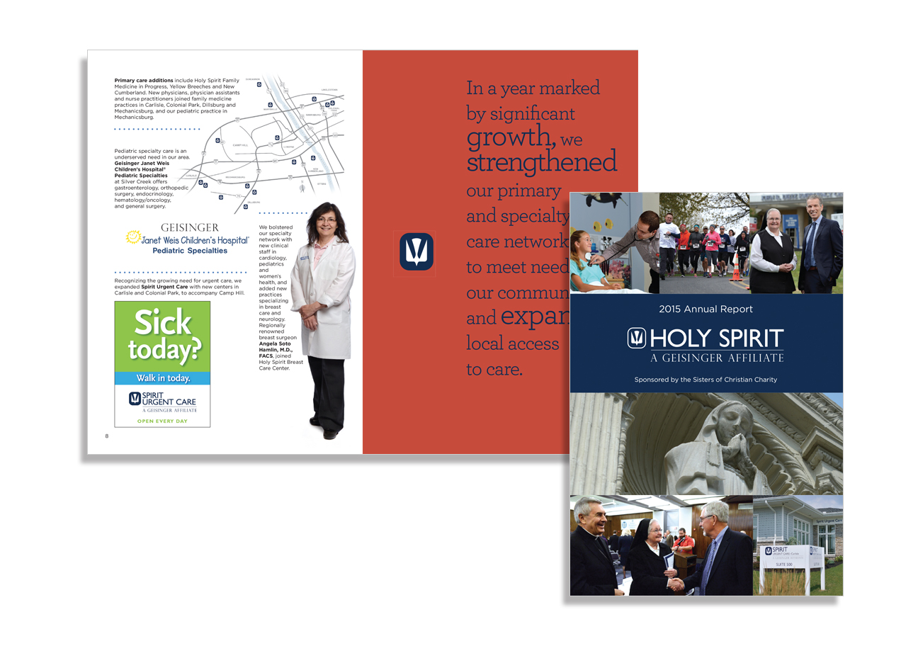 annual report design, holy spirit 2015 annual report, holy spirit a geisinger affiliate