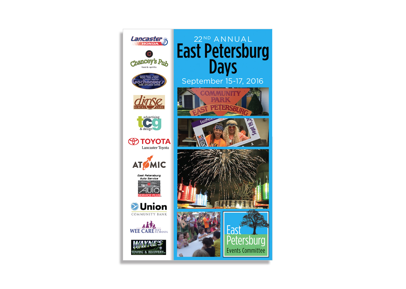 direct mail design, east petersburg days program book, community event