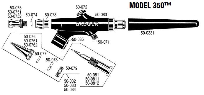 Badger Model 350 Airbrush Parts