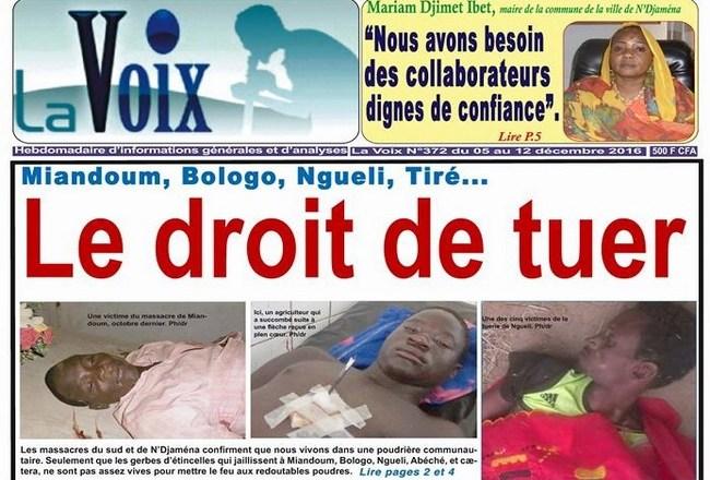 Tchad: après Miandoum, Bologo, N'Gueli, Tiré, Mongo, Goré et Massaguet, les forces claniques du régime ont encore tiré et tué à Chokoyan selon l'UFC