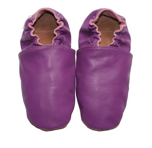 Chaussons bébé enfant adulte en cuir souple violet