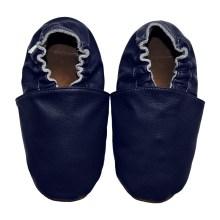 Chaussons bébé enfant adulte en cuir souple bleu marine uni