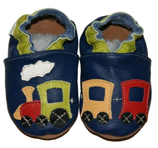 Chaussons bébé enfant en cuir souple train