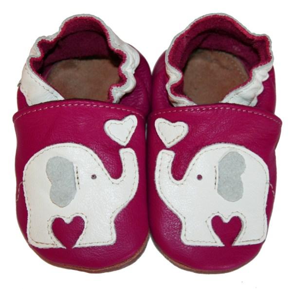 Chaussons bébé enfant en cuir souple éléphant