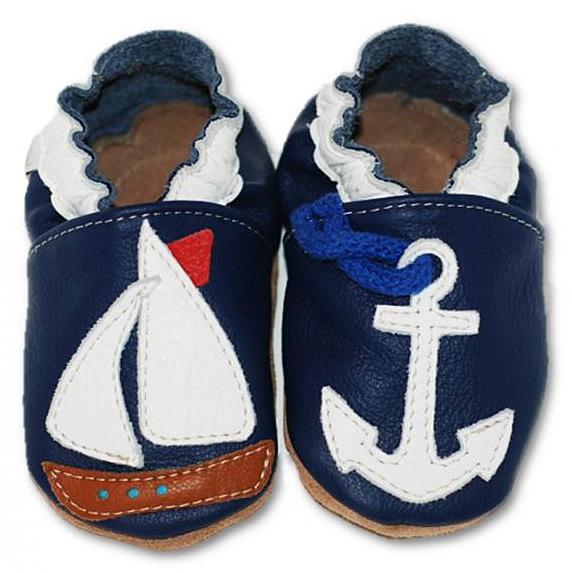 Chaussons bébé enfant en cuir souple bateau