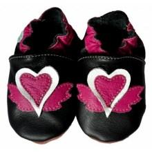 Chaussons bébé enfant en cuir souple gros coeur