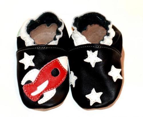 Chaussons en cuir souple bébé enfant fusée