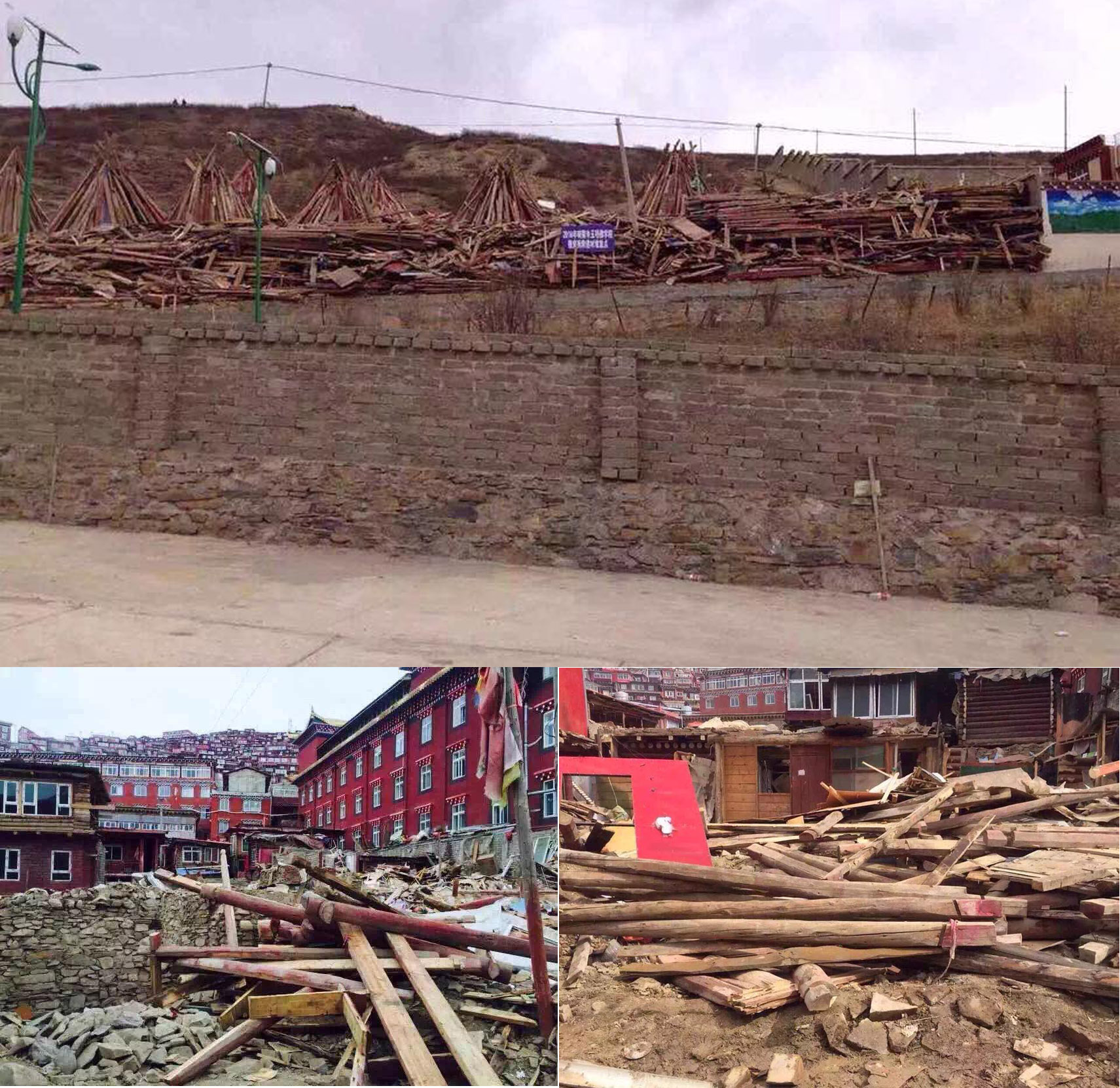 Photos circulated on social media show advance dismantling of dwellings before the arrival of government demolition crew at Larung Gar