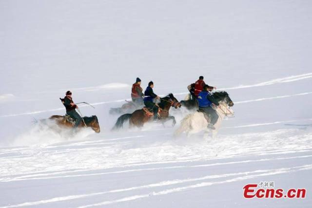แข่งลากซากแพะ: กีฬาหน้าหนาวในซินเจียง