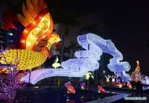 อลังการ! โคมไฟไก่หลากสีต้อนรับตรุษจีนในฮ่องกง