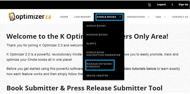 How to Track Keywords for Amazon Books Using K Optimizer 2