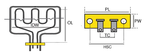 baumatic oven element wiring diagram boiler control diagrams base 1300w with earth tag dimensions