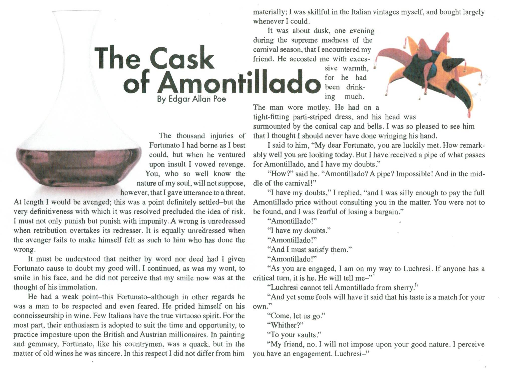 the cask of amontillado story diagram 2006 gmc sierra audio wiring higginbotham michelle edgar allan poe