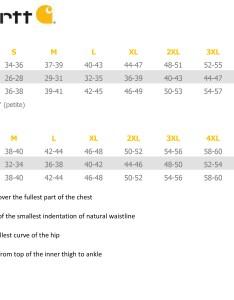 Carhartt size chart also tc   uniformsinc rh tcsums