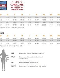 Cherokee workwear size chart also tc   uniformsinc rh tcsums