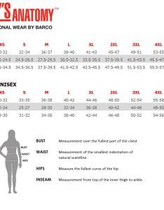 Barco size chart also tc   uniformsinc rh tcsums