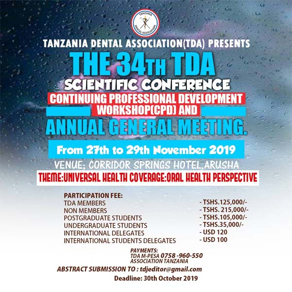 The 34th TDA Scientific Conference; Continuing Professional Development (CPD) Workshop & Annual General Meeting