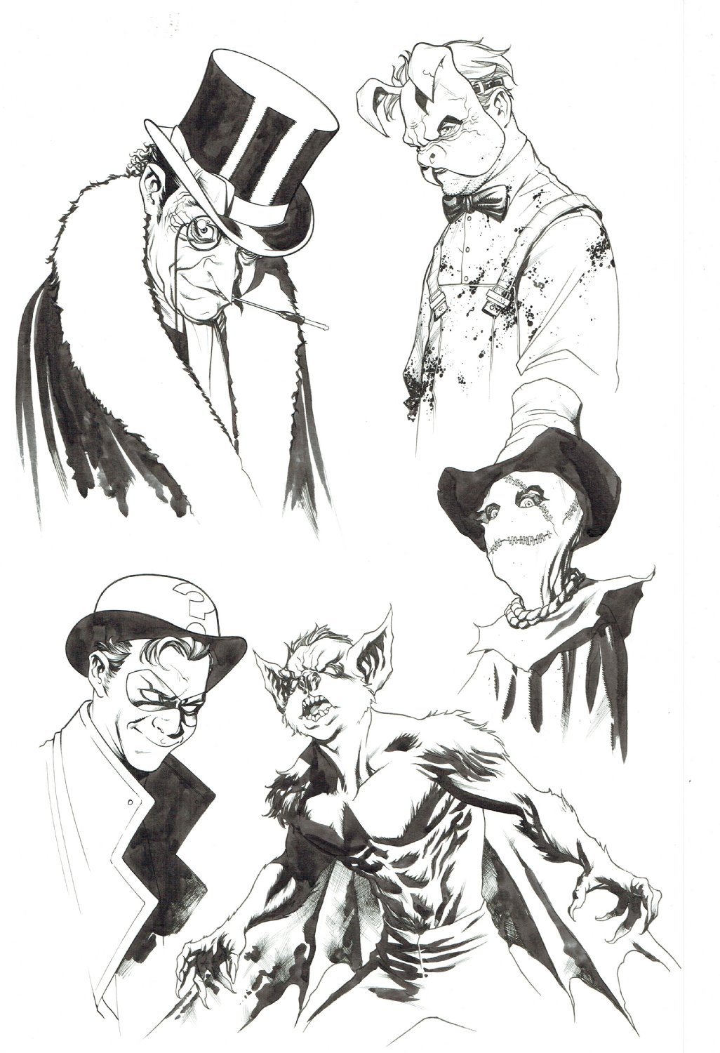 Batman Villains 001 Unpublished Penguin Scarecrow Riddler