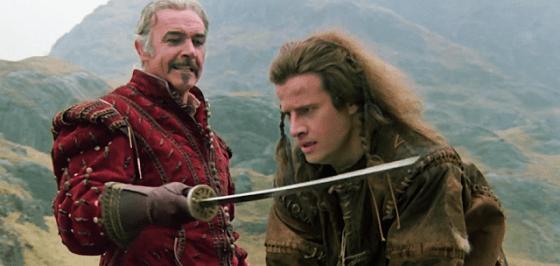 Christopher Lambert şi Sean Connery în Highlander