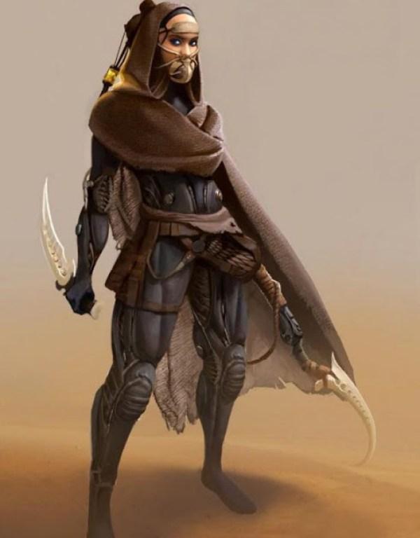 Concept-art pentru o războinică Fremenă din Universul DUNE
