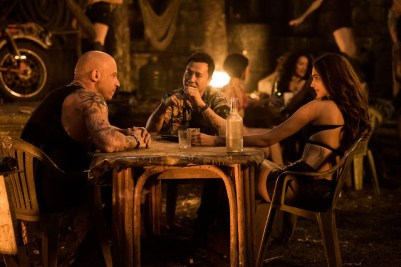 Vin Diesel as Xander Cage, Donnie Yen as Xiang and Deepika Padukone as Serena Unger in xXx: RETURN OF XANDER CAGE.