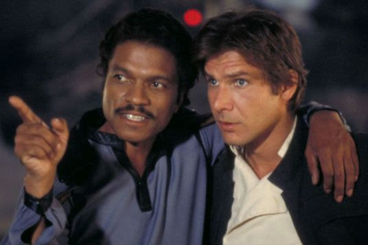 Billy Dee Williams (Lando) si Harrison Ford (Han)