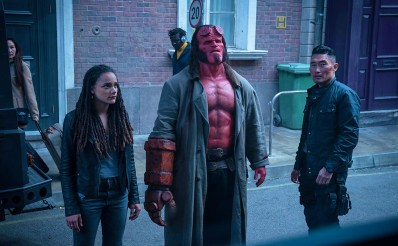 Daniel Dae Kim, David Harbour, and Sasha Lane in Hellboy (2019)