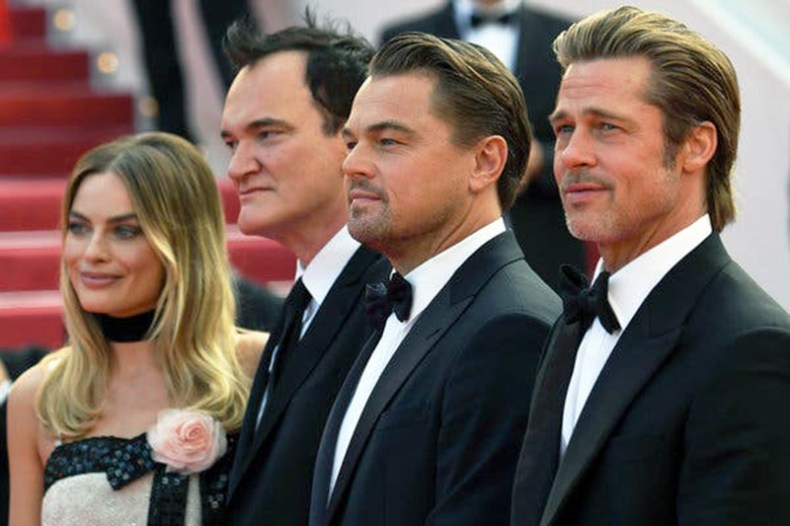 Margot Robbie, Quentin Tarantino, Leonardo DiCaprio şi Brad Pitt la festivalul Cannes (Once Upon A Time In Hollywood)