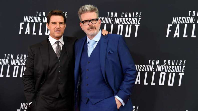 Tom Cruise şi regizorul Christopher Mcquarrie la premiera celui mai recent film Mission: Impossible - Fallout